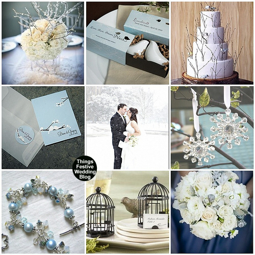 winter wedding theme love birds